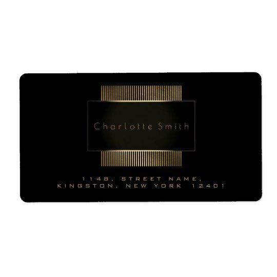 Logo Black Gold Frame Return Address Branding