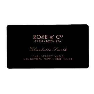 Logo Black Pink Rose Gold Return Address Labels