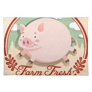 Logo design with fat pig place mats
