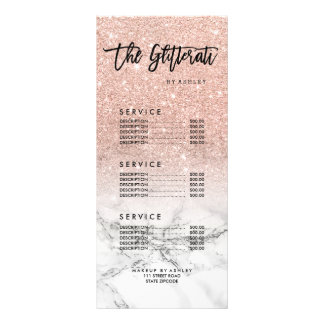 Logo faux rose pink glitter marble price list rack card