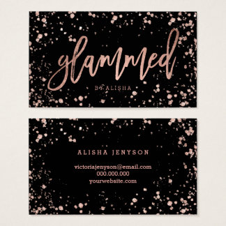 Logo glammed script rose gold confetti splatters business card