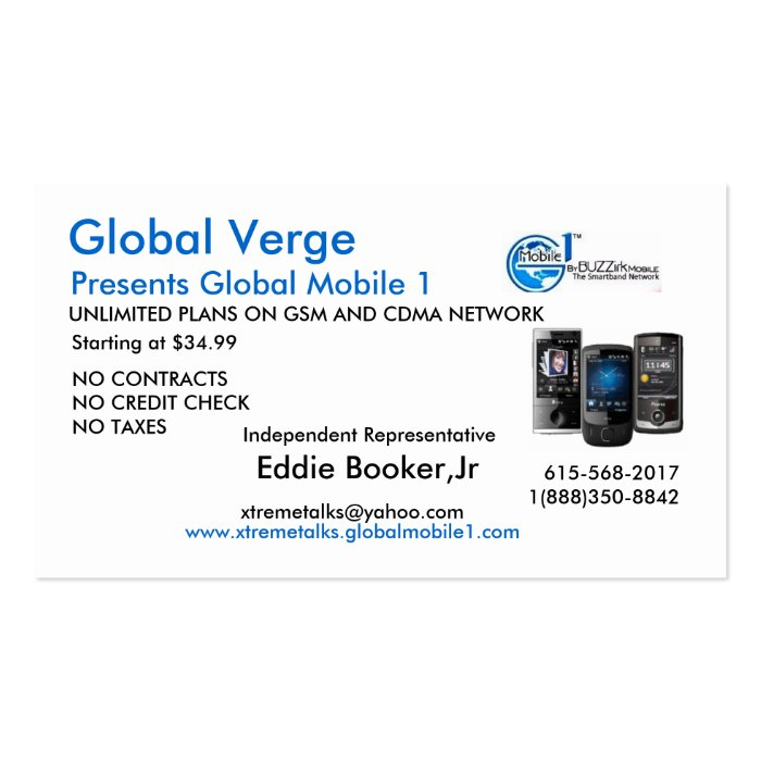 logo, GVPhones, Eddie Booker,Jr, www.xtremetalk... Pack Of Standard Business Cards