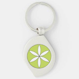Logo Keychain Silver-Colored Swirl Key Ring
