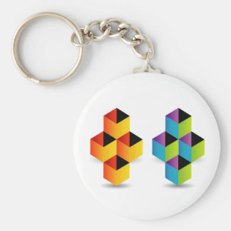 Logo with colorful cubes and shadow keychain
