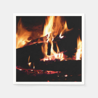 Logs in the Fireplace Warm Fire Photography Disposable Napkin