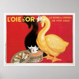 L'oie D'or La Reine Des Cremes Vintage Food Ad Poster