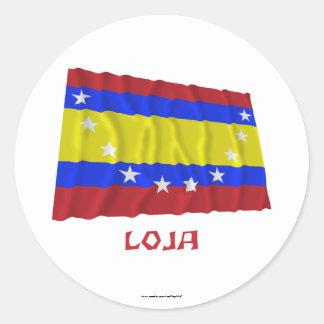 Loja waving flag with Name Round Sticker