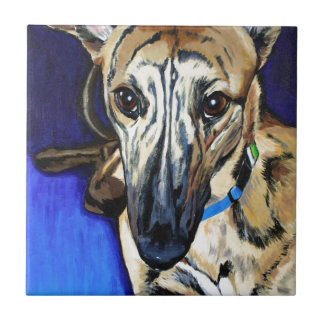 Loki - Lurcher dog Small Square Tile