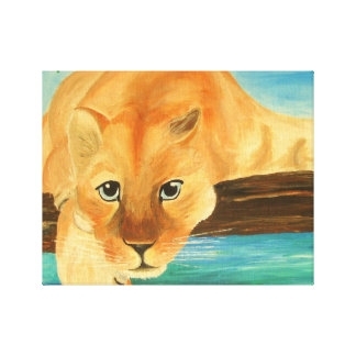 Loking at you - Cool Mountain Lion Stretched Canvas Print