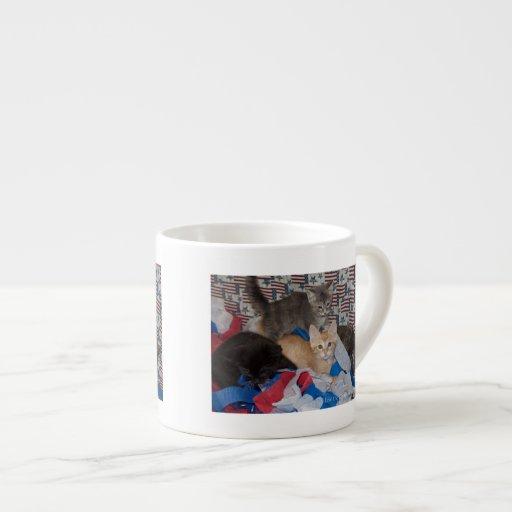 Loki's Litter in Red, White, & Blue Espresso Mugs