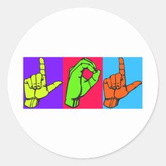 LOL ASL Sign Language Design #2 Classic Round Sticker