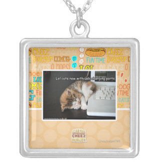 Lol cats with USB Silver Plated Necklace