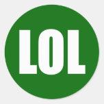 LOL (dark) White on Green Round Sticker