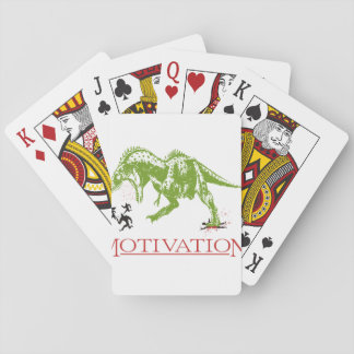 LOL dinosaur chasing people anti motivational Playing Cards