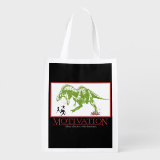 LOL dinosaur chasing people anti motivational Reusable Grocery Bag