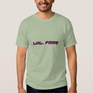 lol. fame (very dark magenta on stone green) tee shirt