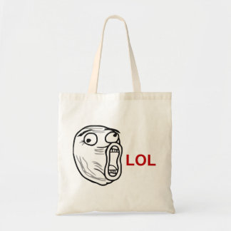LOL Laugh Out Loud Rage Face Meme Budget Tote Bag