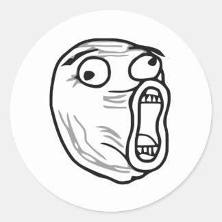 LOL Laugh Out Loud Rage Face Meme Round Sticker