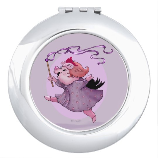 LOLA PIGGY CARTOON compact mirror ROUND
