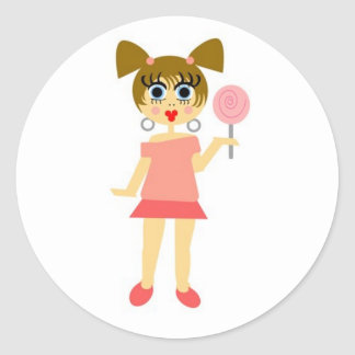 Lollipop Girl Sticker- Brown Hair Classic Round Sticker
