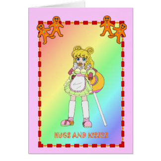 Lollipop girl with gingerbread card