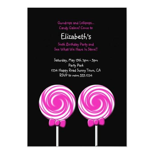Lollipop Invitation or Thank You Card