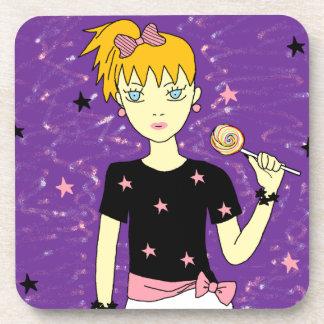 Lollipop Stars Girl Beverage Coasters