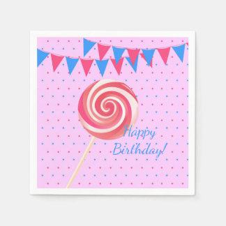 Lollipop Strawberry Birthday Party Paper Napkins