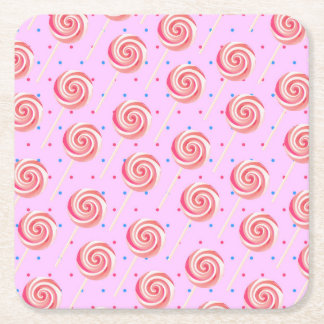 Lollipop Strawberry Pattern Birthday Party Square Paper Coaster