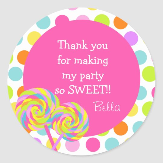 Lollipop Sweet Shoppe Favour Stickers