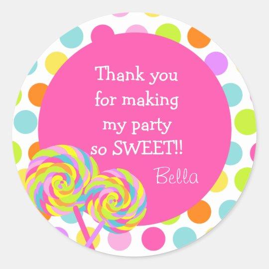 Lollipop Sweet Shoppe Favour Stickers