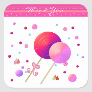 Lollipop Thank You Square Sticker