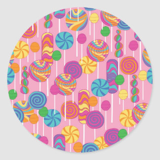 Lollipops Candy Pattern Classic Round Sticker