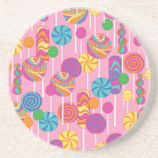 Lollipops Candy Pattern Sandstone Coaster