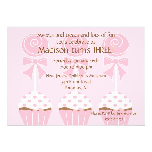 Lollipops & Cupcakes  Birthday Invitation