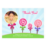 Lollypop Thank You Photo Card Personalised Announcement