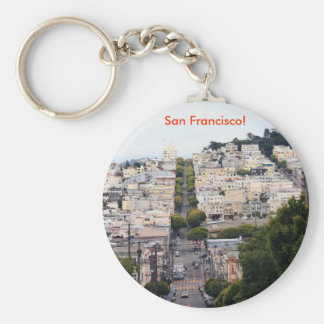 Lombard Street, San Francisco Basic Round Button Key Ring