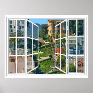 Lombard Street White 24 Pane Open Window Poster