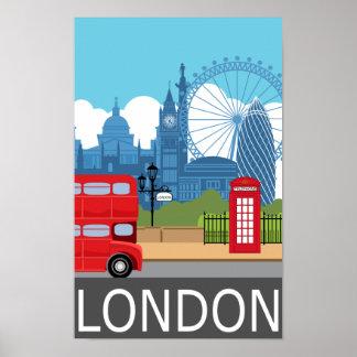 London art print retro travel railway poster