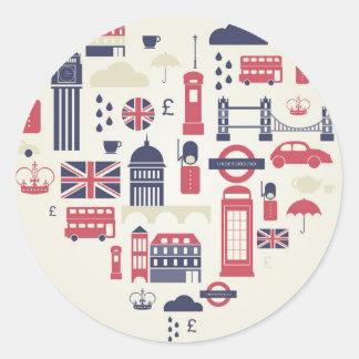 London at Heart Round Sticker