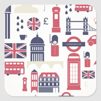 London at Heart Square Stickers