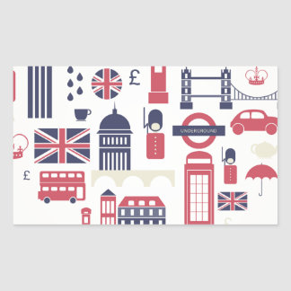London at Heart Rectangle Stickers
