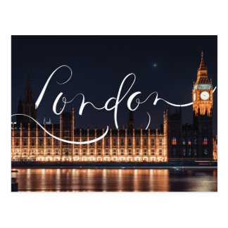 London / Big Ben Calligraphy Postcard