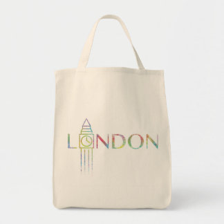 london Big Ben Colour Splash Grocery Tote Bag