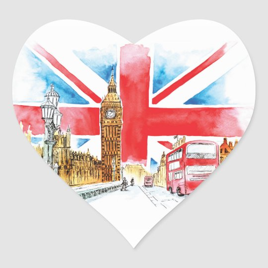 London Big Ben Heart Stickers, Glossy Heart Sticker