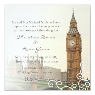 London Big Ben personalized wedding invitation
