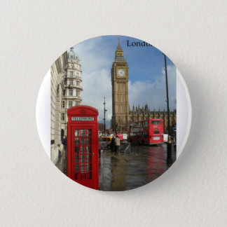 London Big Ben Phone box (by St.K) 6 Cm Round Badge