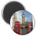 London Big Ben Phone box (by St.K) 6 Cm Round Magnet