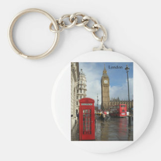 London Big Ben Phone box (by St.K) Basic Round Button Key Ring