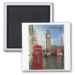London Big Ben Phone box (by St.K) Square Magnet